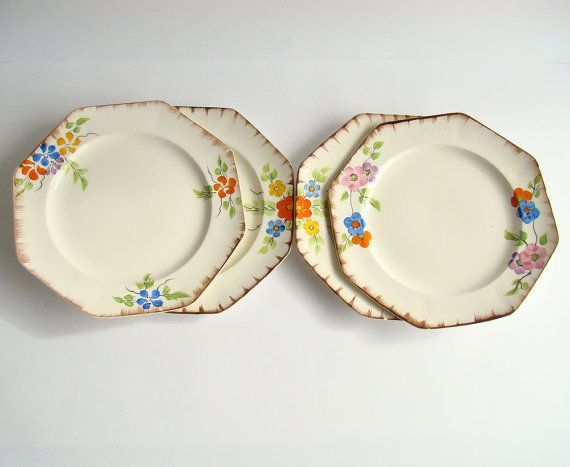 1930s Dinner Plates Art Deco Crockery English by AboutThePlace. & 1930s Dinner Plates Art Deco Crockery English China James Kent ...