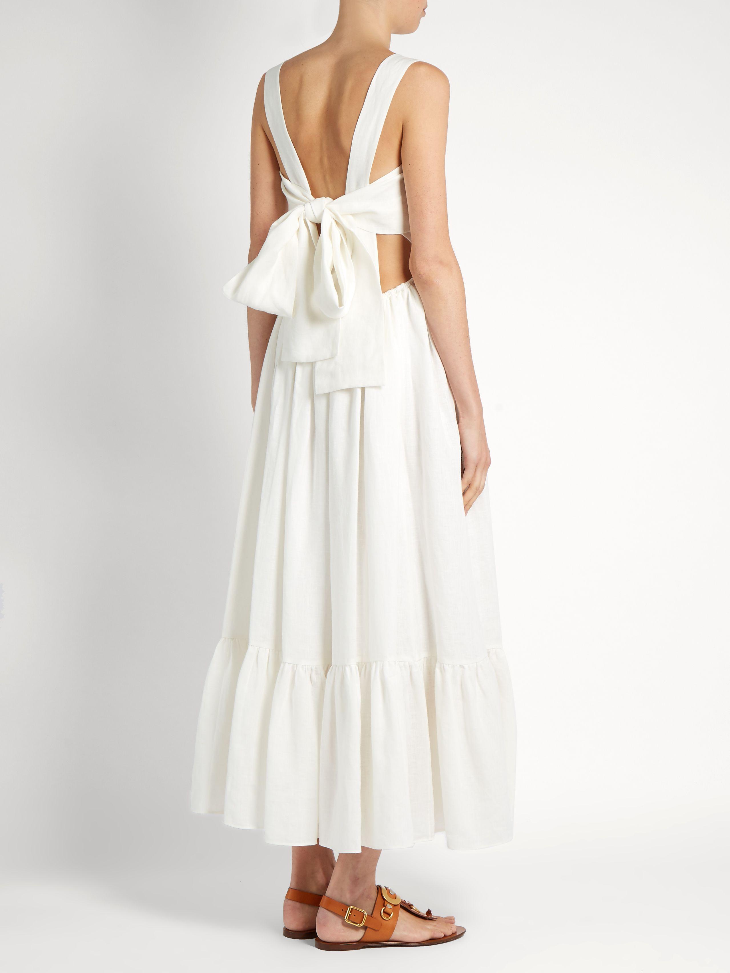Tie Back Linen Dress Chloe Matchesfashion Com Dresses Linen Dress Dress To Impress [ 3409 x 2557 Pixel ]