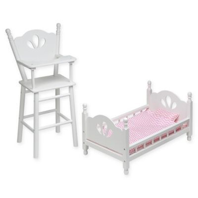 Badger Basket English Country Doll High Chair And Bed Set With