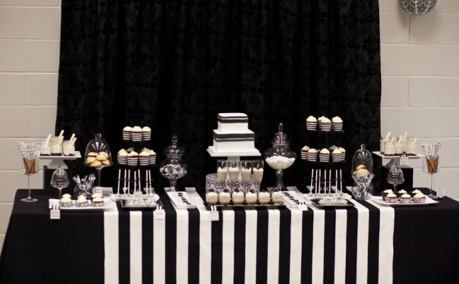 Black And White Dessert Table White Party Decorations Black And
