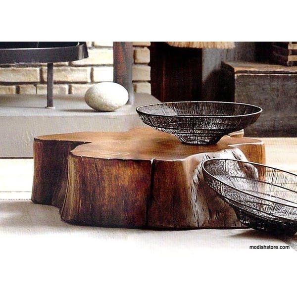 Roost Acacia Slice Coffee Table Amp Stump Stool Round Wood