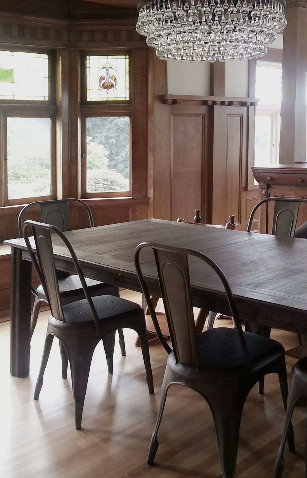 phinney ridge craftsman dining room - wood paneling, chandelier