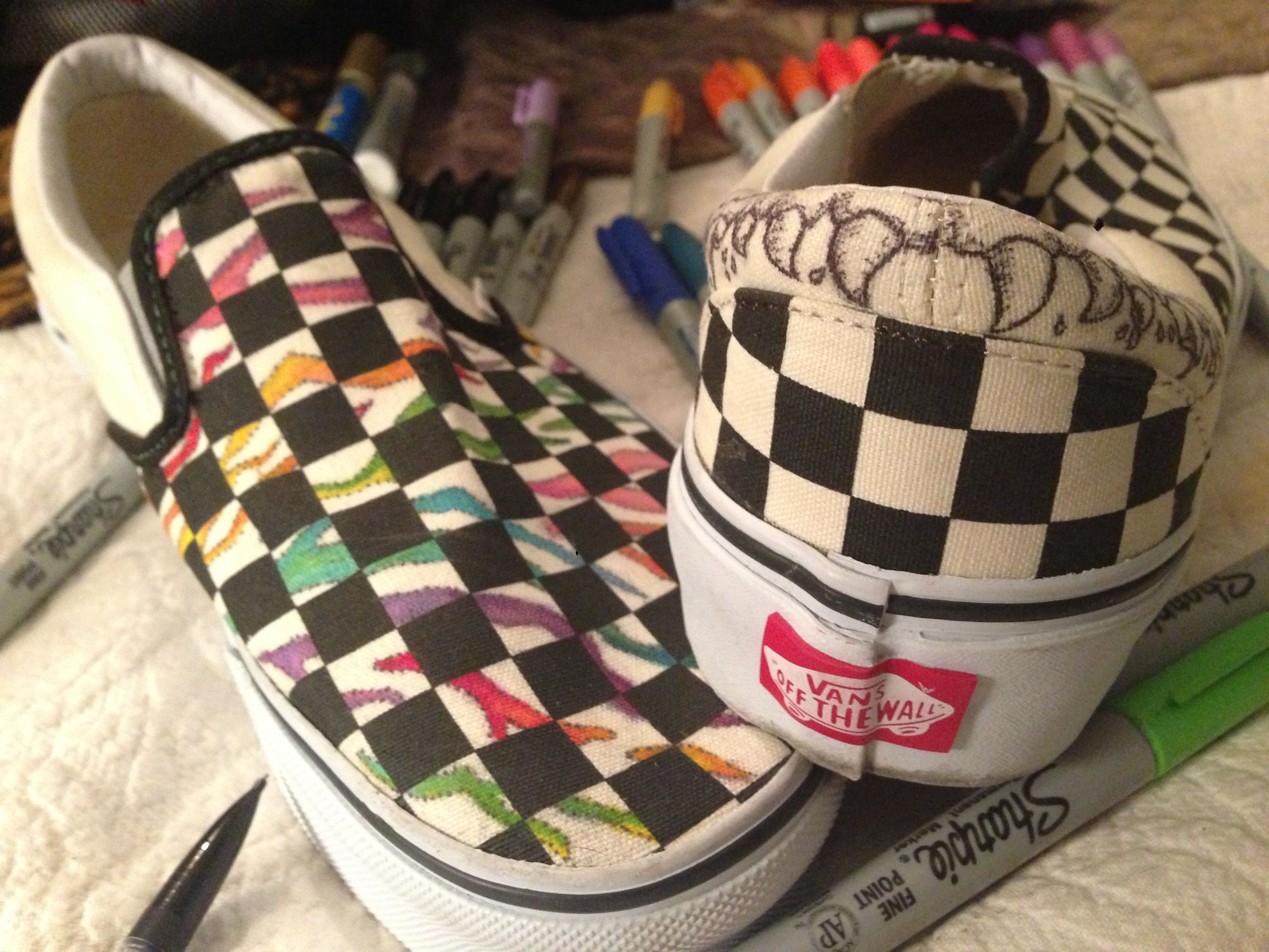 43b2f747fff0 sharpie doodling on black white checkered vans (in-progress)  sharpie   shoes  vans  rainbow  teeth  doodle  zebrastripes  zebra  rainbowzebra   checkeredvans ...