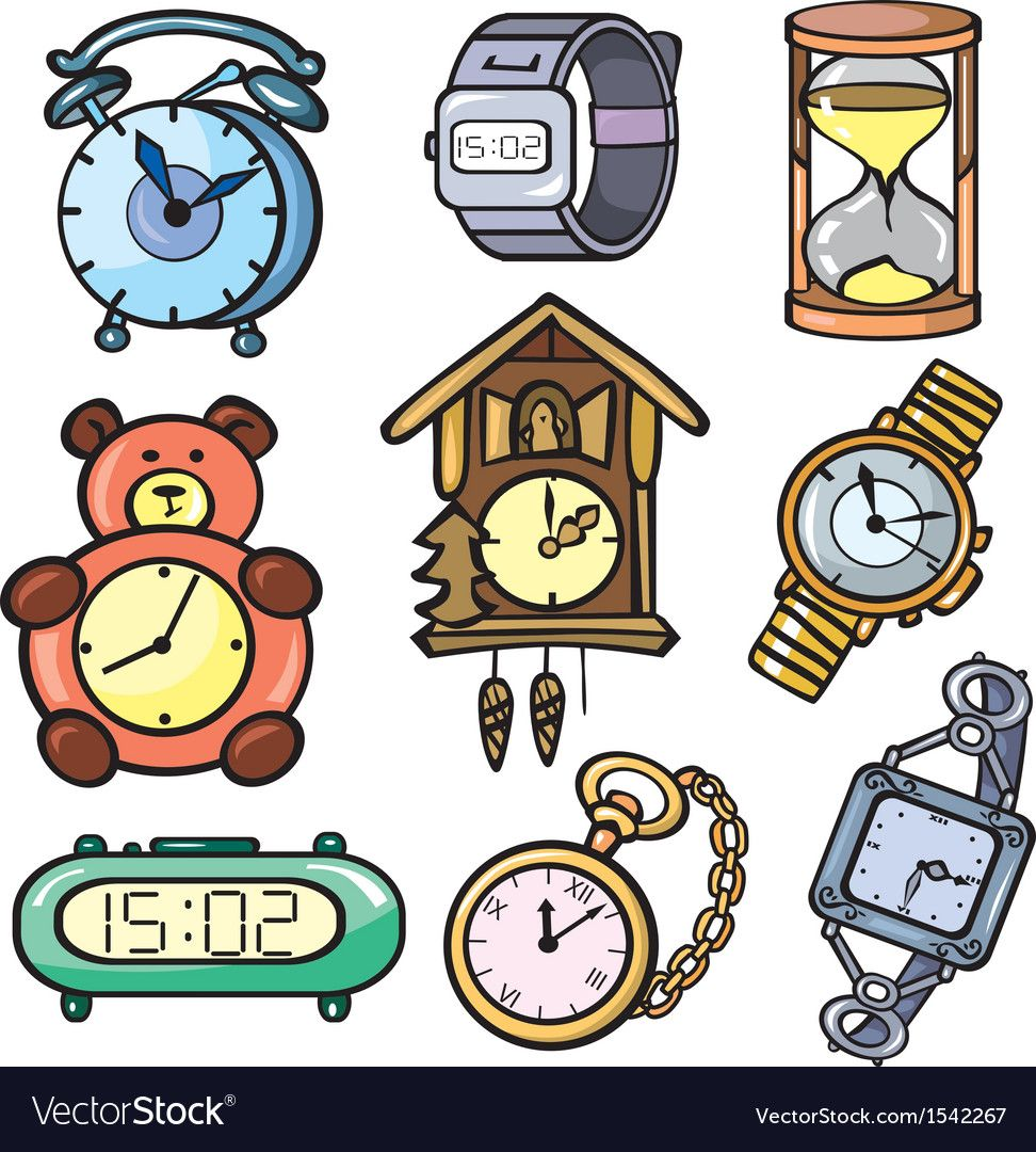 Watches and clock icons set vector image on VectorStock