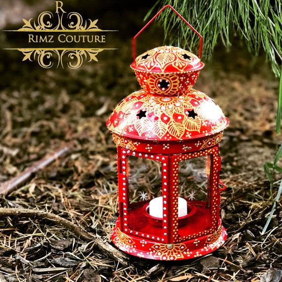 Red Lantern Candle Holder Hand Painted