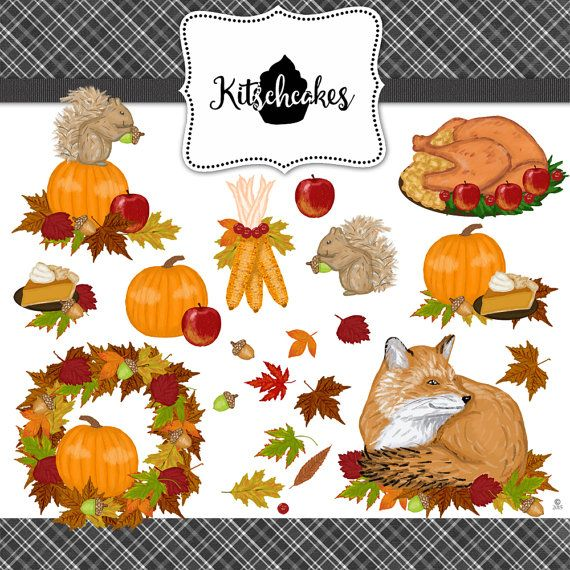 Thanksgiving Autumn Clip Art Instant Download Hand by KitschCakes1