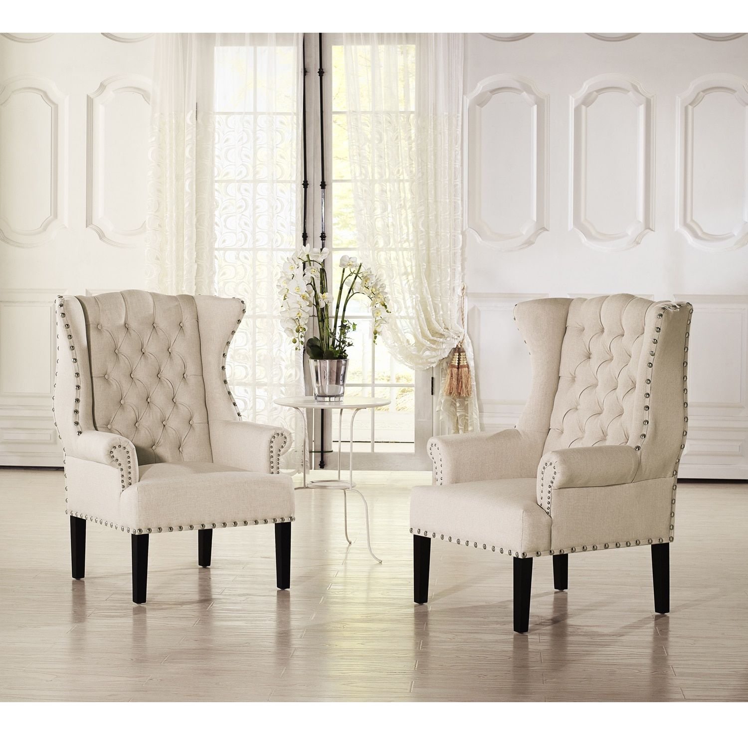 Overstuffed Wingback Chair Baxton Studio Patterson Wingback Beige Linen And Burlap