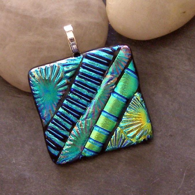 Fused dichroic glass pendant, blues, greens, handmade