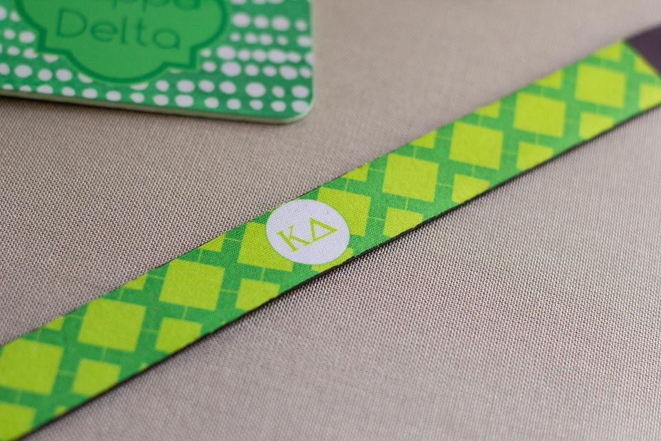 Kappa Delta sorority sunglass strap bamboo pattern monogrammed with greek letters. newbeginningdesigns.com
