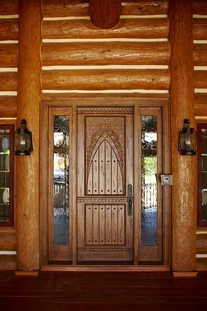 Luxury Log-Cabin Homes--WSJ Mansion | Front doors, Doors and Logs