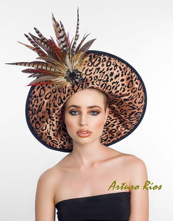 71bef137bcd1b Couture Derby Hat with Leopard Prints and feathers by ArturoRios ...