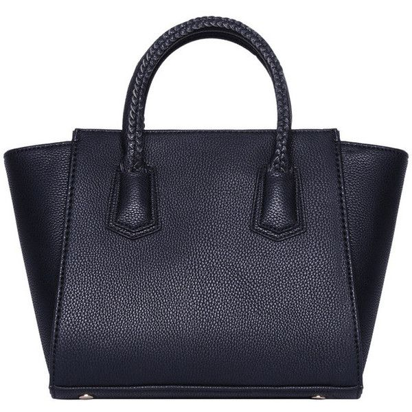 Black Faux Leather Braided Tote Mini Bag ($50) ❤ liked on Polyvore featuring bags, handbags, tote bags, bolsas, handbags totes, vegan leather tote bag, vegan purses, mini tote and faux leather purses