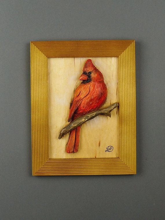 Birthday Gift Red Cardinal Carved Hand Painted Wall Art Woodcarv ...