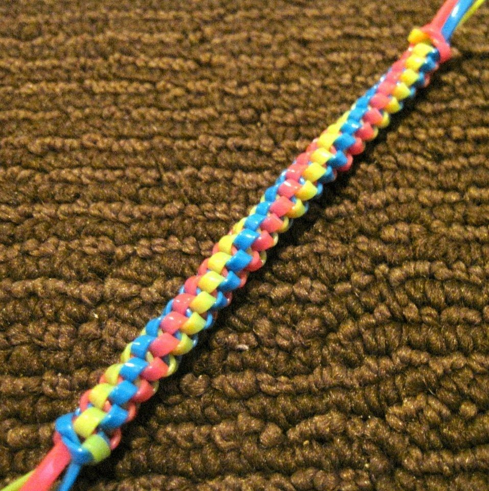 Twisted Triangle Stitch Starting Doing The Stitch Plastic Lace Plastic Lace Crafts Lanyard Crafts