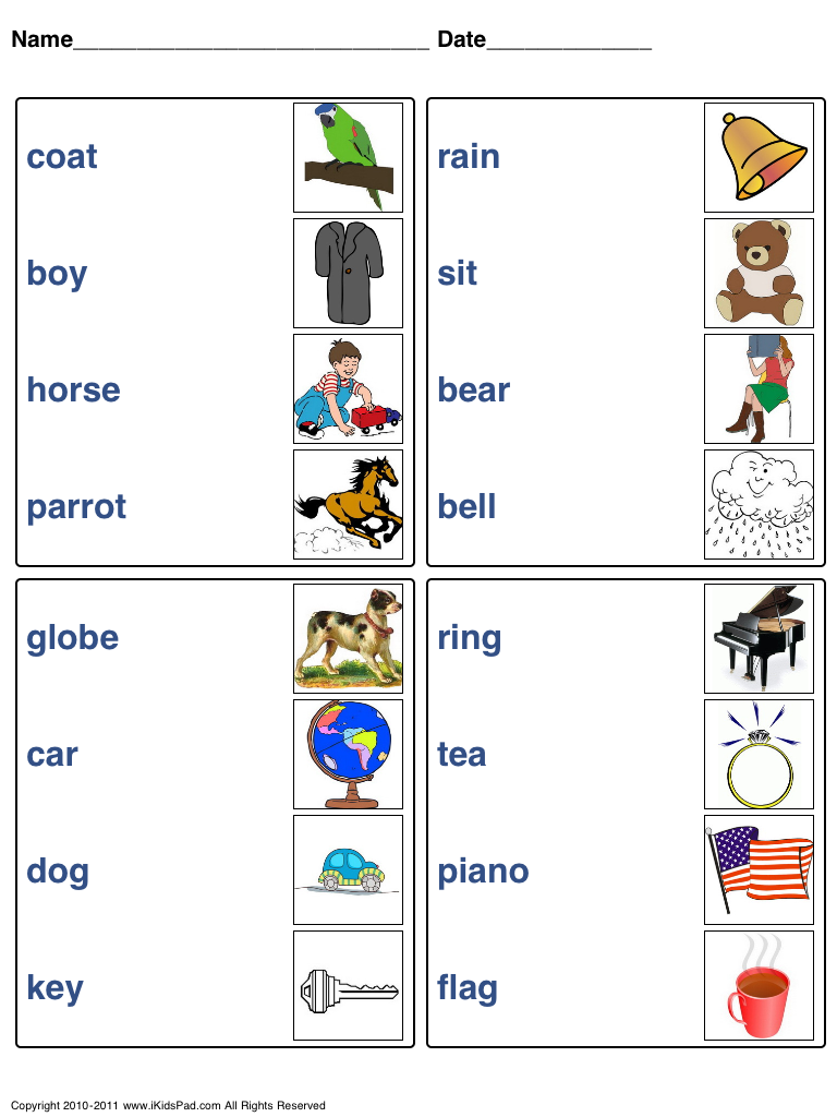 Free Printable picture Word matching Games Fun