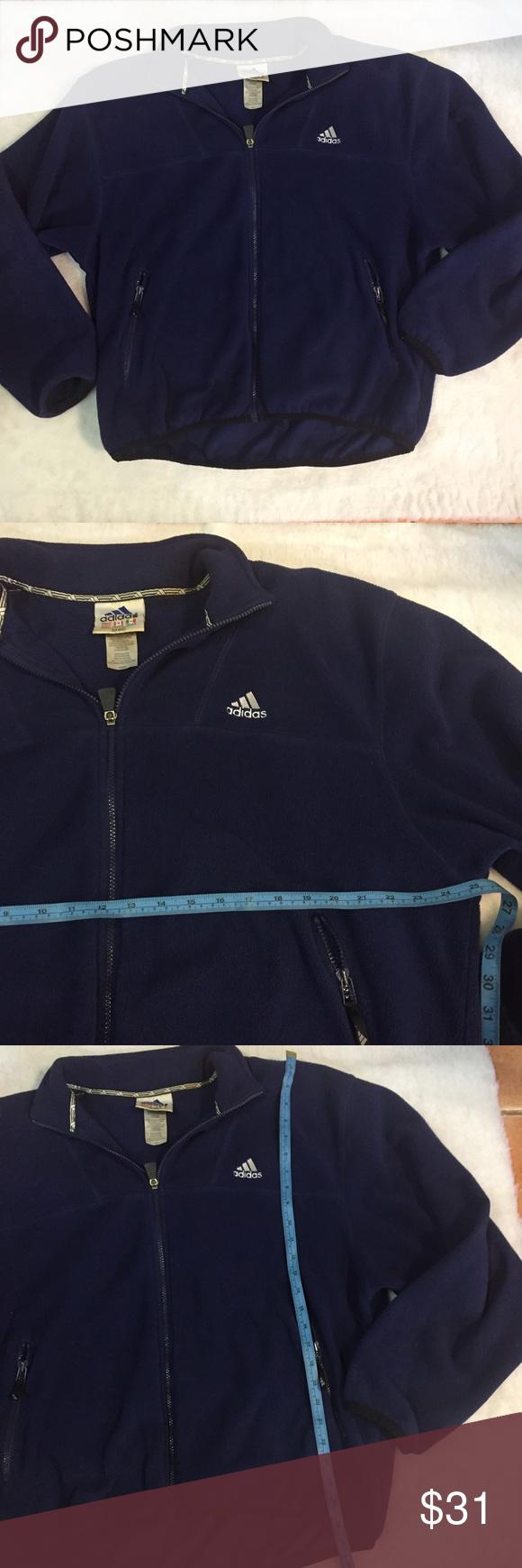 Vtg adidas menus large navy blue fleece jacket great condition will