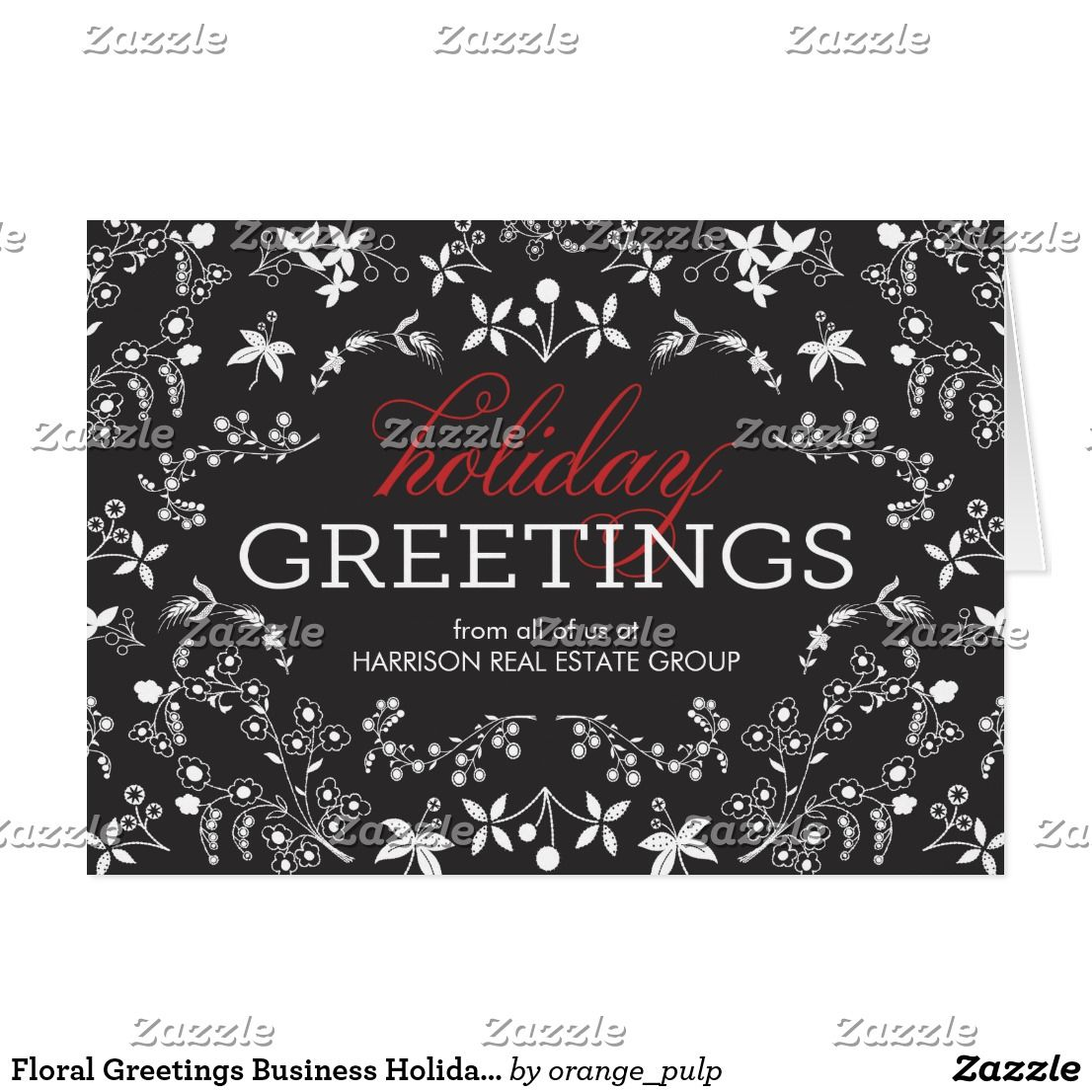 Floral greetings business holiday greeting card happy holidays floral greetings business holiday greeting card spread some joy this holiday season with these chic and stylish holiday cards from orange pulp designs m4hsunfo