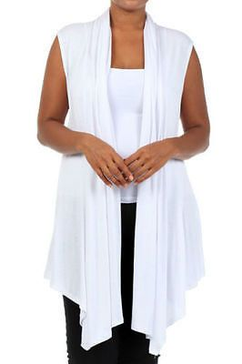 76c15480e31f09 Plus Size Vest Women Open Front Cardigan New Wrap Sleeveless 1X 2X 3X White  New A MUST HAVE!! Featuring a soft rayon spandex open sleeveless cardigan  vest.