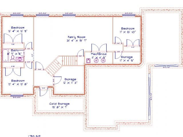 Basement Floor Plan Make Bedroom To Right Of Family Room A Full Bathroom.  The Two