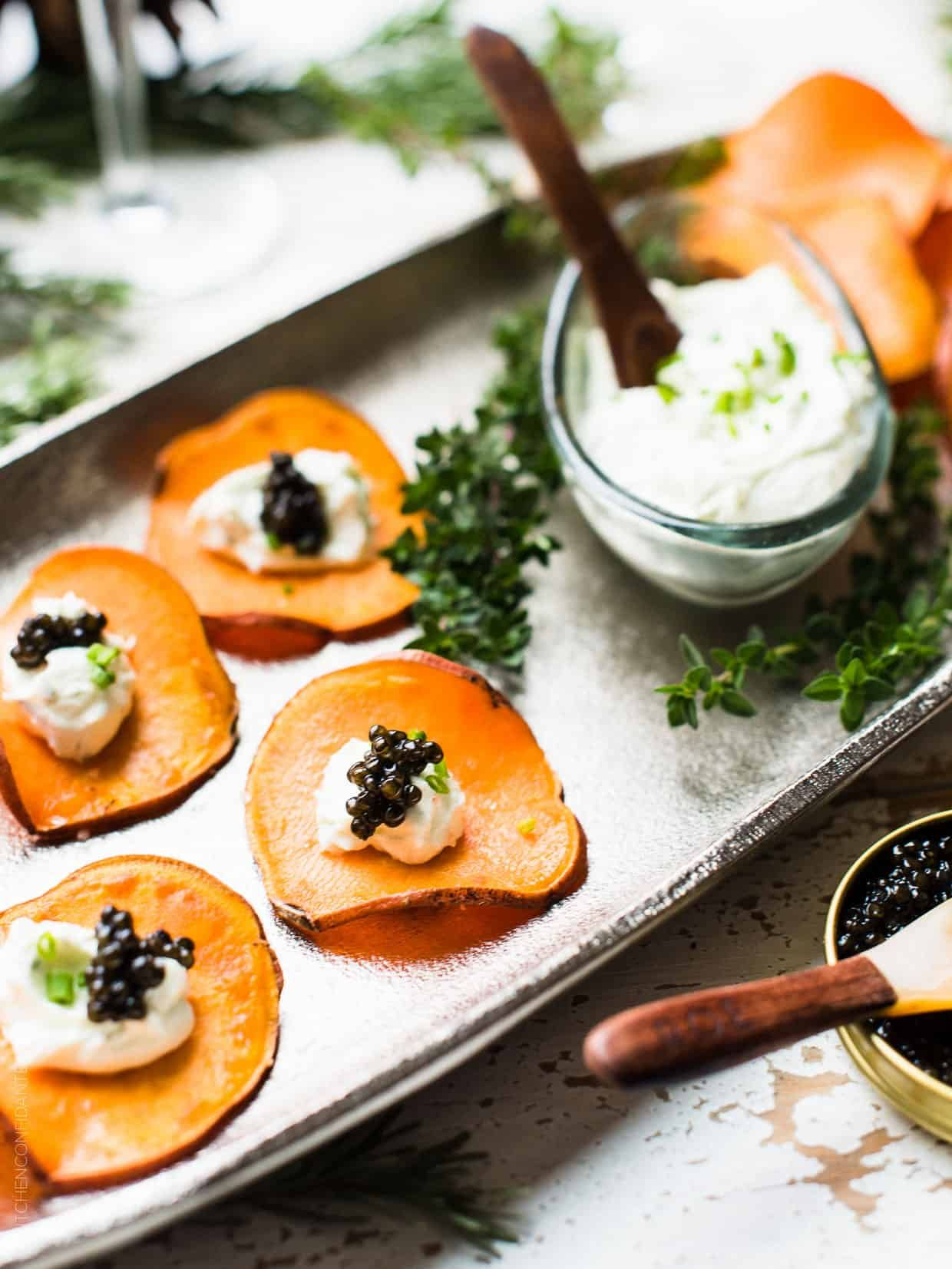 Sweet Potato Chips with Whipped Goat Cheese and Caviar | Kitchen Confidante®