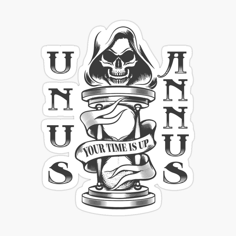 'Unus Annus Skull Hourglass Your Time Is Up' Stick
