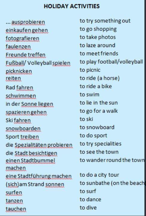 Holiday activities deutsch urlaub wortschatz
