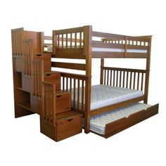 Bedz King Full Over Full Bunk Bed With Trundle Finish Cappuccino
