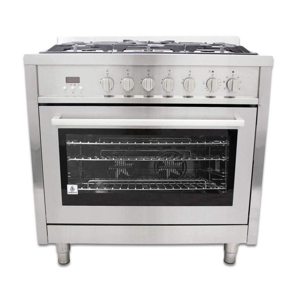 Cosmo Commercial-Style 36 in  3 8 cu  ft  Single Oven Dual