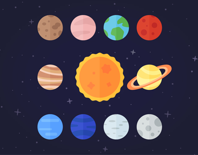 Flat Vector Icon Set Of Solar System Planets Sun And Moon On Dark Space Background Solar System Planets Planet Drawing Space Solar System