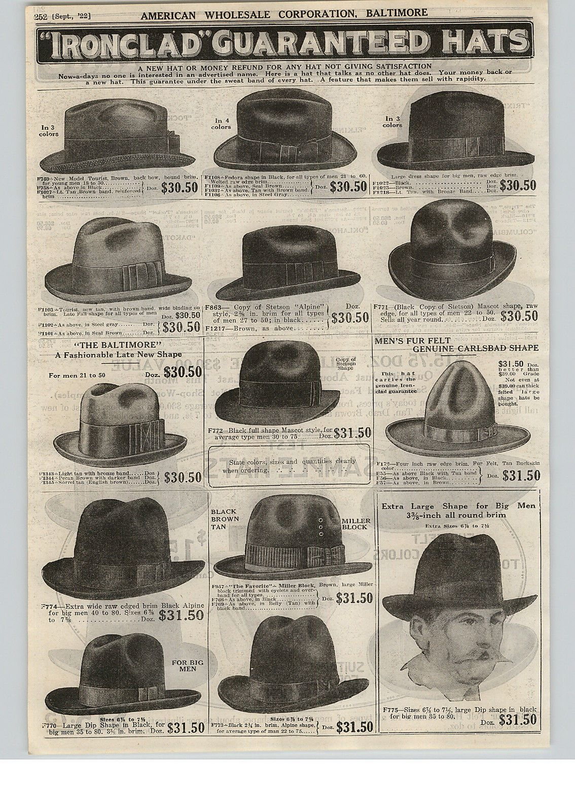 1922 PAPER AD John B Stetson Hat Hats Dakota Oklahoma Columbia Pocket  Vintage  bf14941df43