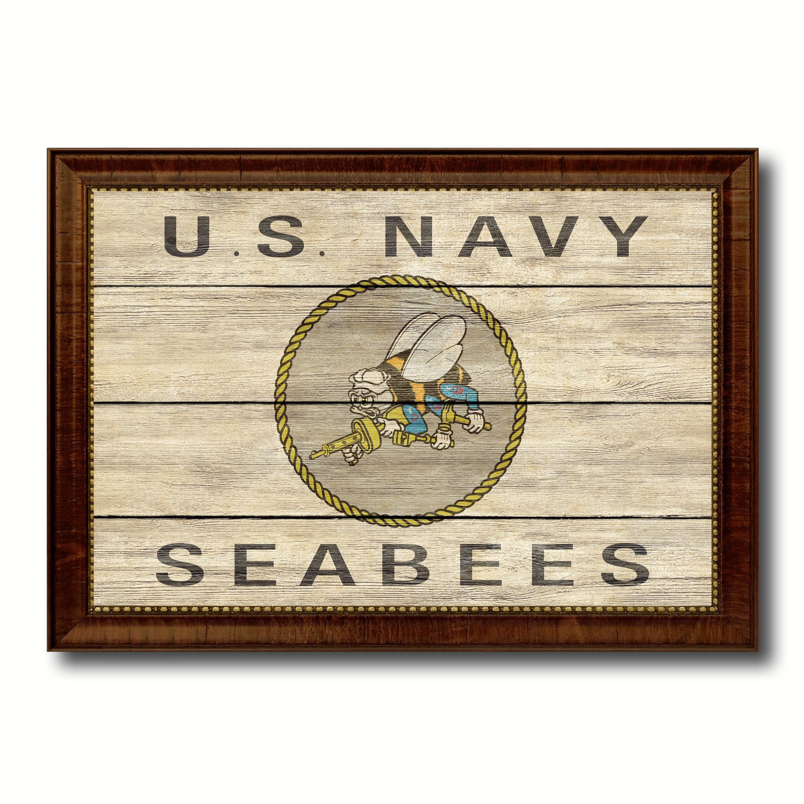us navy seabees military flag texture canvas print with brown