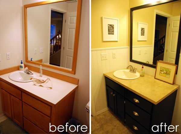 powder room before and after painting oak vanity cabinet - Painted Bathroom Cabinets Before And After