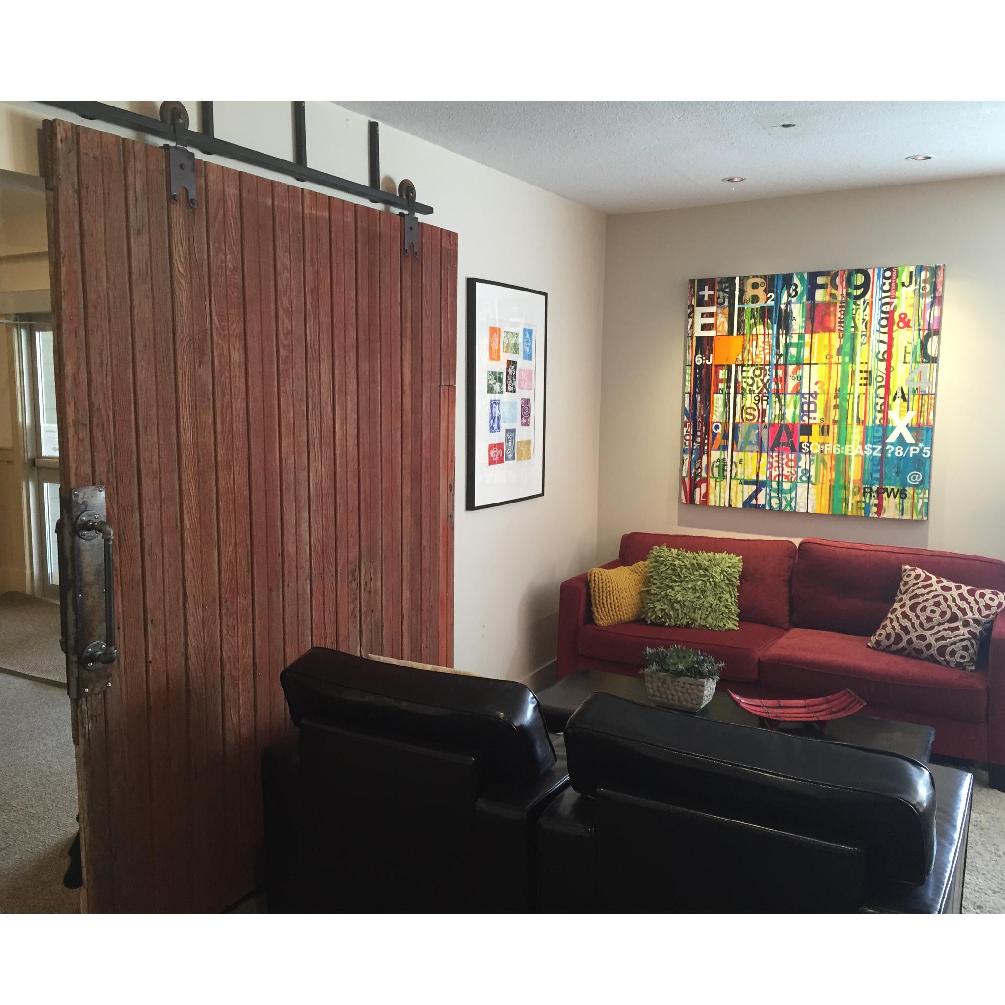 Coffee room update reclaimed barn door by yorkegraham