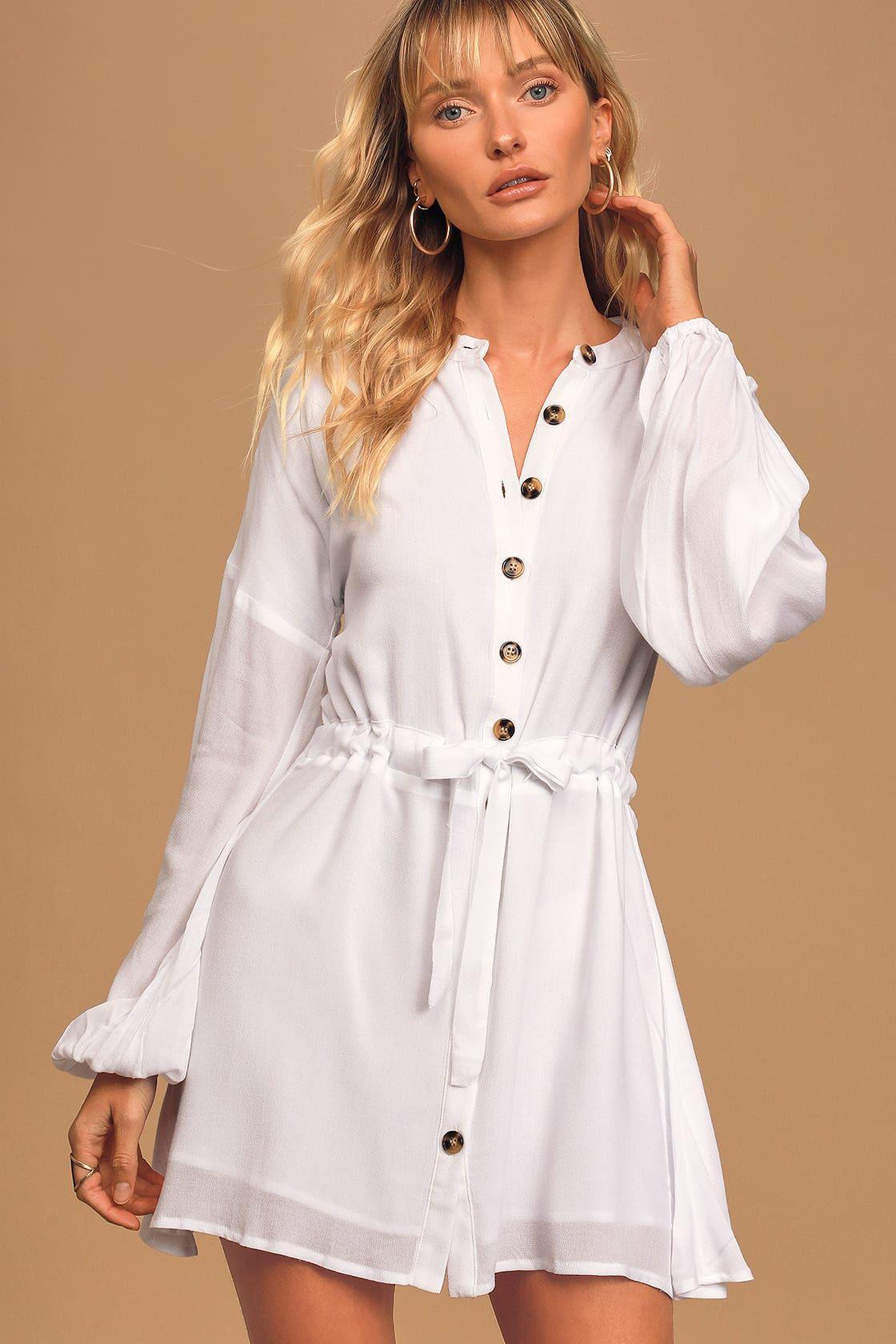 Cali White Long Sleeve Button Up Mini Dress Long Sleeve Skater Dress White Lace Skater Dress Cute Skater Dresses [ 1680 x 1120 Pixel ]
