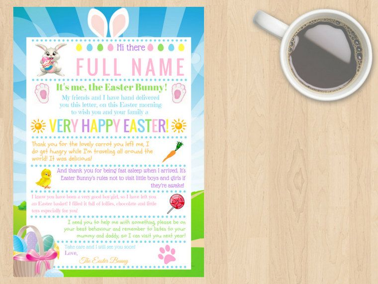Digital Download Customisable Personalised Easter Bunny Letter