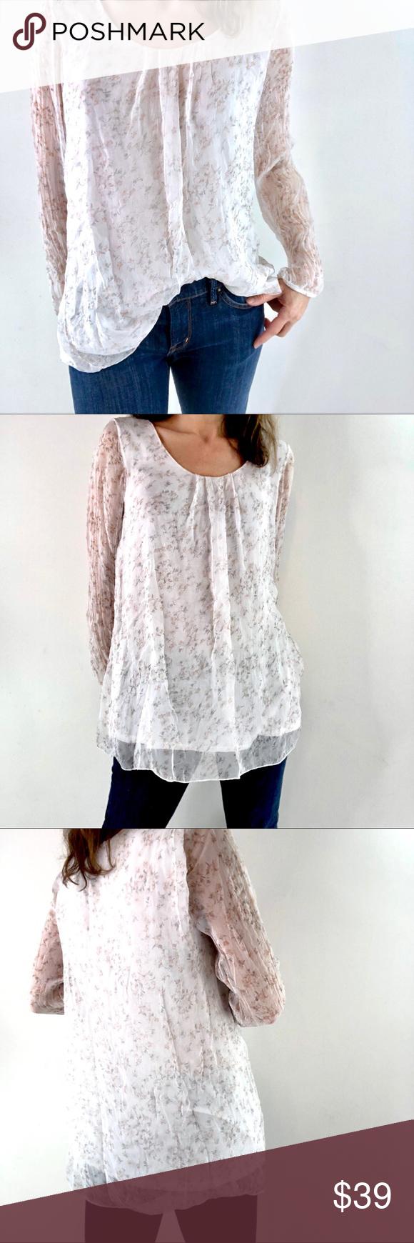 35c71b265be Italian Silk feminine top Sz L floral print blouse Brand  Piazza Del Tempio  made in