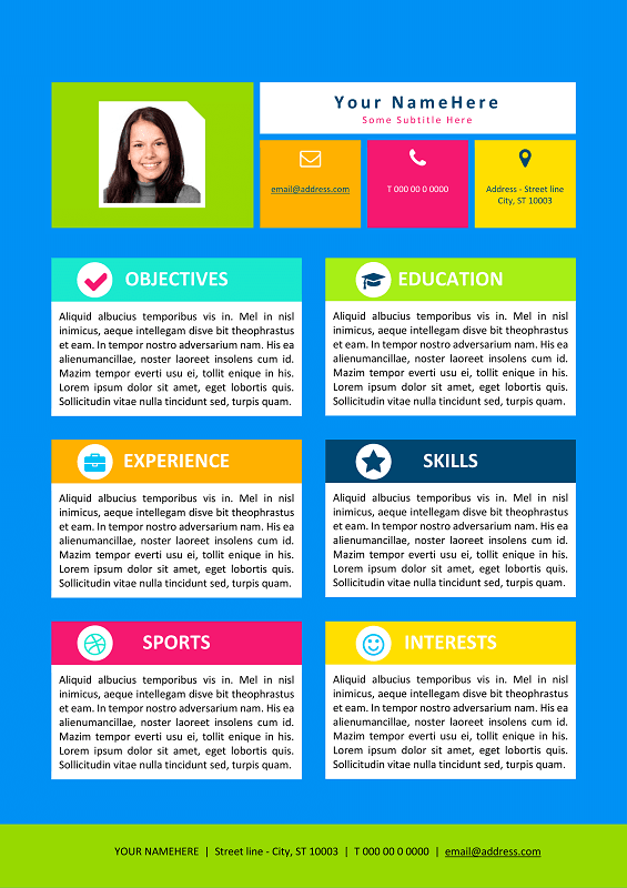 Lovely Colorful Resume Template For Kids