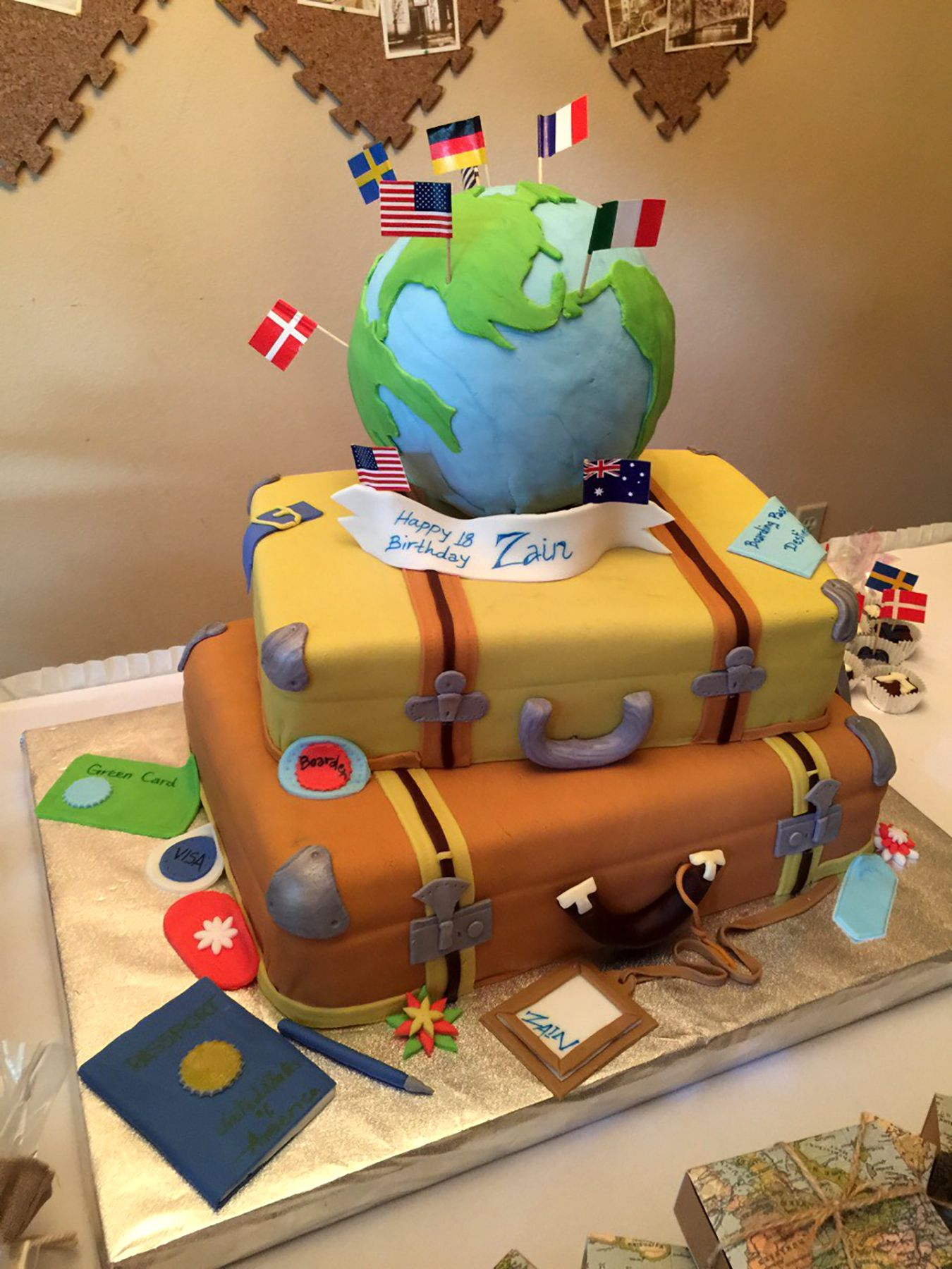 Fine Fondant Cake Around The World Travel Theme Cake For Zains 18Th Birthday Cards Printable Opercafe Filternl