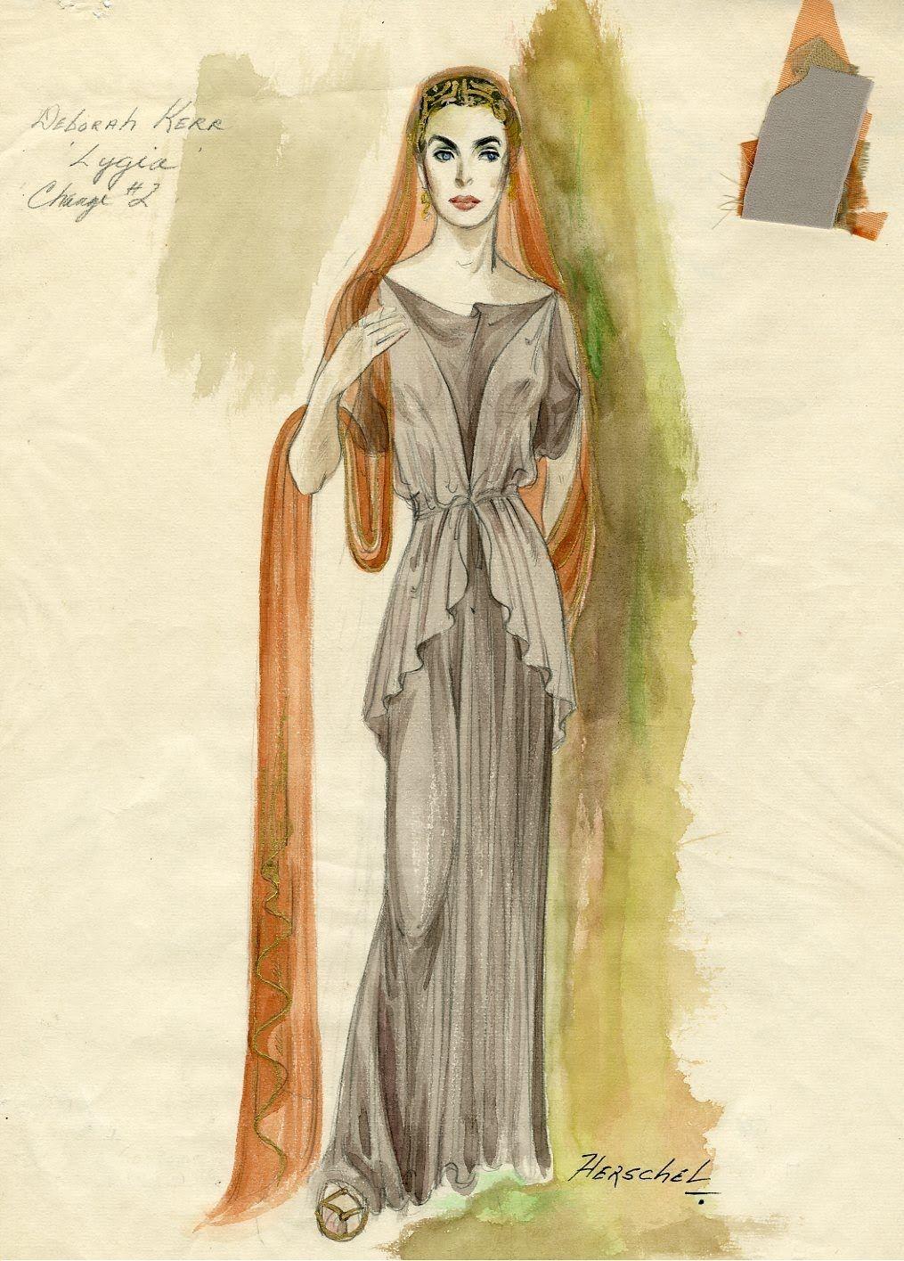 This costume design sketch by Herschel (Herschel McCoy) is for Deborah Kerr as Lygia in Quo Vadis from 1951