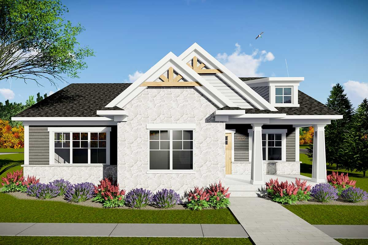 Plan 890078AH: Two Bedroom Modern Craftsman House Plan with Rear Entry Garage #craftsmanstylehomes