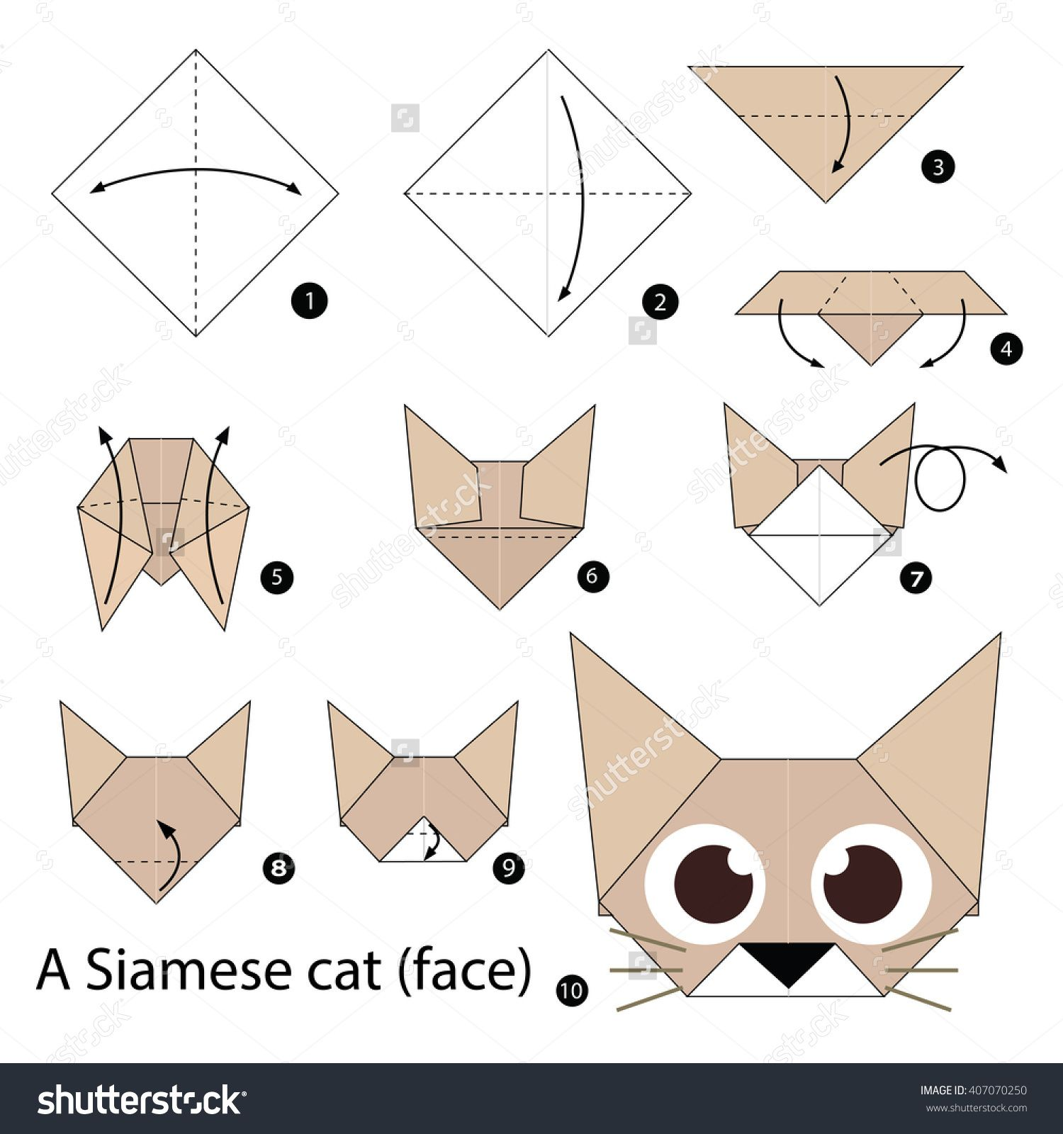 Step By Step Instructions How To Make Origami A Cat. Stock