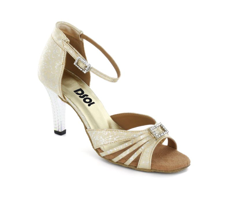 Very Fine Womens Salsa Ballroom Tango Latin Dance Shoes Style 1683 Bundle with Plastic Dance Shoe Heel Protectors
