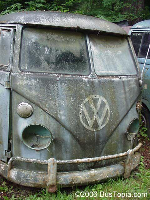 Very Restorable Volkswagen Bus in Dove Blue at VW Junk Yard