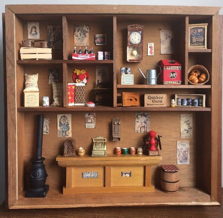Kitchen Diorama Made Of Cereal Box: Handmade Old-time General Store Miniature Diorama Shadow