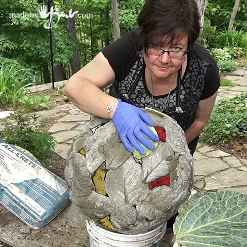 Diy Gigantic Concrete Leaf Orb Made By Barb