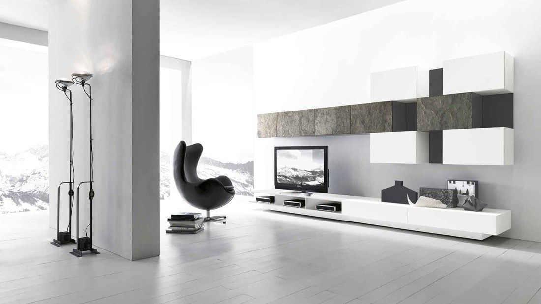 Modern TV Wall Unit Comp. 223 by Presotto, Italy from ModulART collection has lacquered base ...