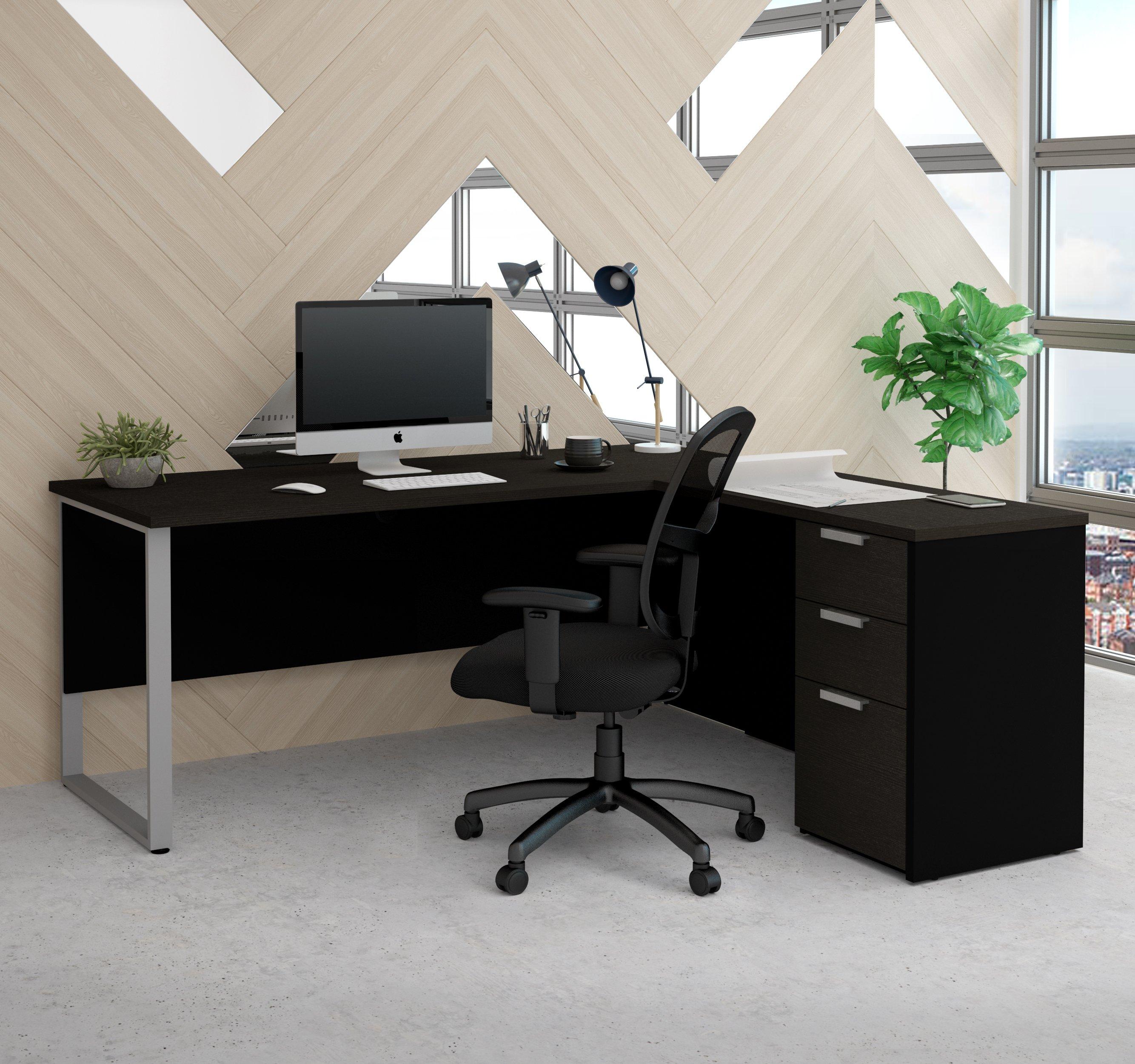 Deep Gray Black L Shaped Single Pedestal Modern Desk L Shaped