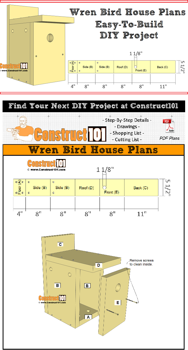 Wren Bird House Plans Easy DIY Project Construct101