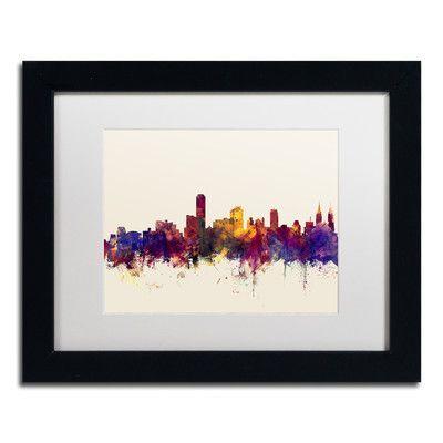 """Trademark Art """"Adelaide AU Skyline"""" by Michael Tompsett Framed Graphic Art Size: 1"""
