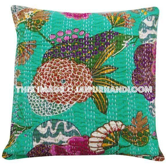 24x24 Indian Kantha Pillow Cover Kantha Throw Pillow Kantha Cushion Cover